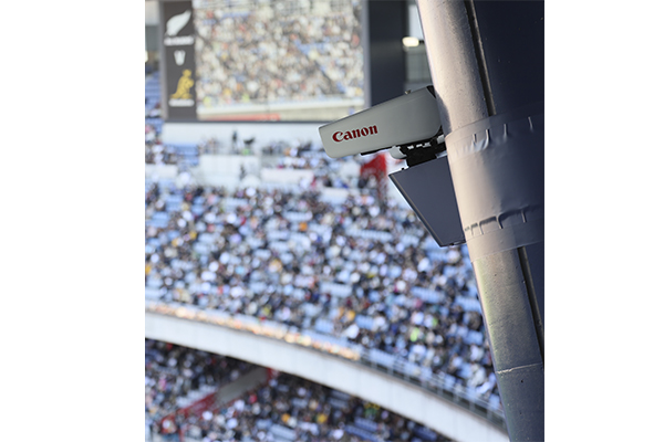 System camera installed on stadium support pillar