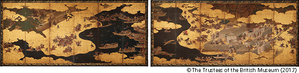 "The high-resolution facsimile of ""Battles of Ichi-no-Tani and Yashima, from 'Tales of the Heike',"" donated to the National Center for the Promotion of Cultural Properties. The original work resides at the British Museum."