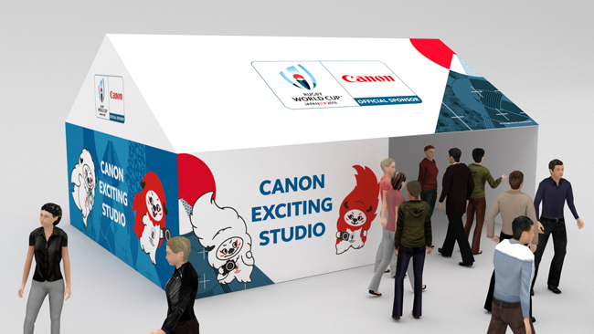 Canon booth at a fanzone (CG rendering)