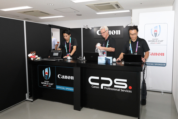A camera service booth inside the stadium(Sep. 20, Tokyo)