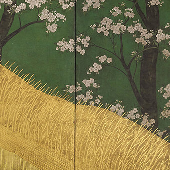 Court Ladies among Cherry Trees /Cherry Blossoms, a High Fence, and Attendants