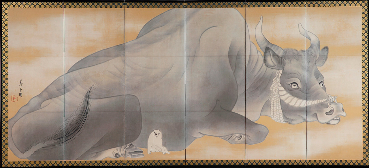 White Elephant and Black Bull / Nagasawa Rosetsu