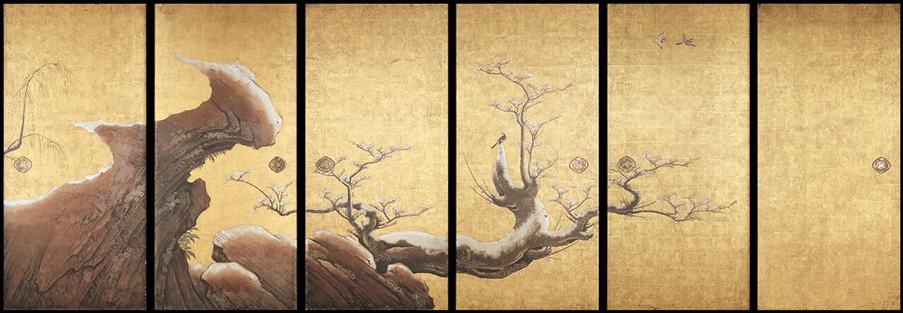 Frolicking Birds in Plum and Willow Trees / Kano Sanraku/Sansetsu