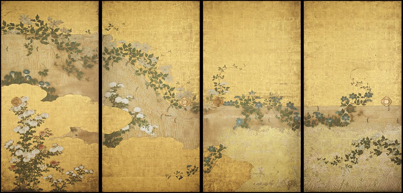 天球院方丈障壁画 籬に草花図襖|作品紹介|綴プロジェクト